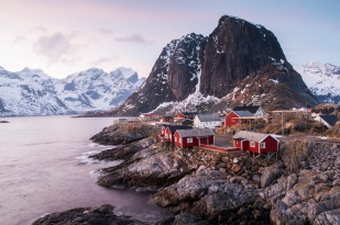 Hamnøy, Lofoten at sunset. All Rights Reserved.