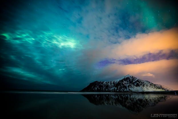 Aurora Borealis over Skagsanden Beach, Lofoten. All Rights Reserved